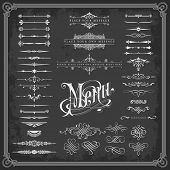 foto of chalkboard  - large collection of calligraphic design elements - JPG
