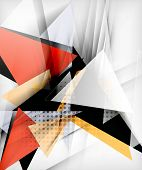 Color triangles, unusual abstract background. Realistic paper 3d composition with shadows and glossy