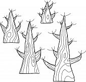 Outlined Bare Trees