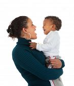 Arfican American Mom Holding Baby Boy Smile on Isolated White Background