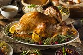 foto of thanksgiving  - Whole Homemade Thanksgiving Turkey with All the Sides