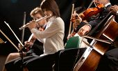 image of orchestra  - Symphony orchestra on stage violins cello and flute performing - JPG