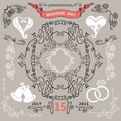 Vintage Wedding design elements.Ornate Romantic set