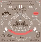 Vintage Wedding design elements set