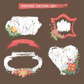 Vintage flotal set with stamps.Vector