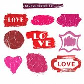 Love set.Distressed Stamps.Grunge badges,label