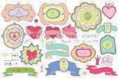 Doodle colored  labels,badges,decor element.Love