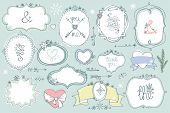 Doodle colored  labels, badges,frame,decor element. Winter set