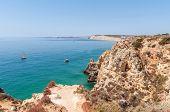 Rocky Coast Of Algarve In Portugal