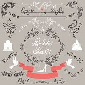 Bridal shower design elements.Vector set