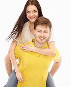 Portrait of happy couple isolated on white background..