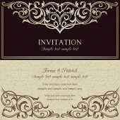 Baroque invitation, dark brown and beige