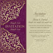 Orient invitation, purple and beige