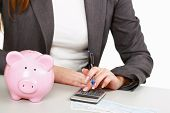 Young woman with a piggy bank and using a calculator.