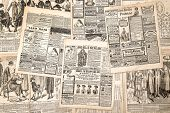 Newspaper Pages With Antique Advertising. Woman's Fashion Magazine