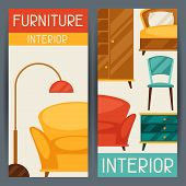 Interior vertical banners with furniture in retro style.