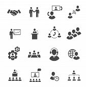 Business people online meeting strategic pictograms set of presentation online conference  teamwork