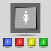 Female sign icon. Woman human symbol. Women toilet. Set colour buttons. Vector