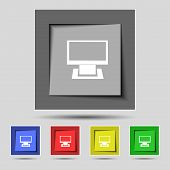 Computer widescreen monitor sign icon. Set colourful buttons. Modern UI website navigation.