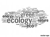 Vector eps concept or conceptual abstract green ecology and conservation word cloud text on white ba