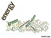 Vector eps concept or conceptual abstract green energy and ecology and conservation word cloud text