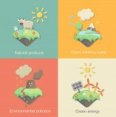 Ecology Concept Vector Icons Set for Environment, Green Energy and Nature Pollution Designs. Nuclear