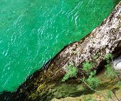 Green Color Water In Mountain River