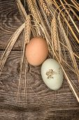 Natural Organic Eggs On Rustic Wooden Background