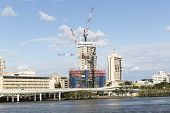 Brisbane cityscape with 1 William Street construction