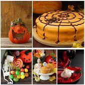 Set Halloween pumpkin,cake, treats and table setting