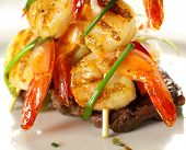 Shrimps On Steak