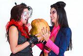 Halloween women with a pumpkin