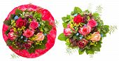 Bouquet Of Red And Pink Roses Isolated On White