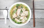 Vietnamese vermicelli pork soup - Mien heo - Tet traditional meal