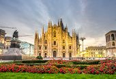 stock photo of piazza  - beautiful view of Duomo cathedral in Milan - JPG