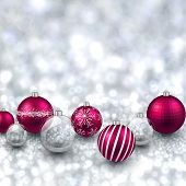 Silver defocused with magenta christmas balls background. Bright bokeh. Vector illustration.