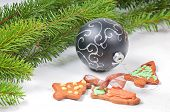 Gingerbread cookies with christmas tree and ball