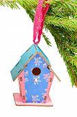 Christmas toy blue birdhouses
