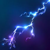 image of lightning  - Blue shining electric lightnings effect vector background - JPG