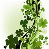design for St. Patrick's Day with four and three leaf clovers; illustration