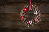 Decorated Christmas Wreath Red White Cloth Stars Old Rustic Background