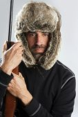 Hunter Winter Fur Hat Man Portrait Holding Gun