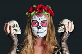 Girl with Calavera Mexicana makeup mask94677