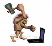 Caveman Killing a Laptop