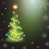 Christmas Fir Tree On Colorful Background.