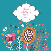 Beautiful floral background in vector. Cartoon butterflies and flowers - cute summer card