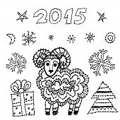 set new year symbol 2015 sheep, spruce, snowflakes on white background. black contour sketch. vector