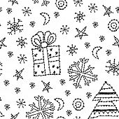 seamless pattern set new year symbol on white background. black contour sketch. vector