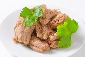 detail of tuna meat with parsley on white plate