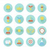 Award icons. Vector colorful set of prizes and trophy signs. Design elements. Illustration in flat s